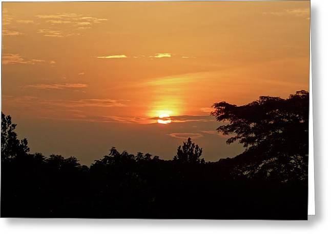 As The Sun Sets ... Orange Greeting Card by Exploramum Exploramum