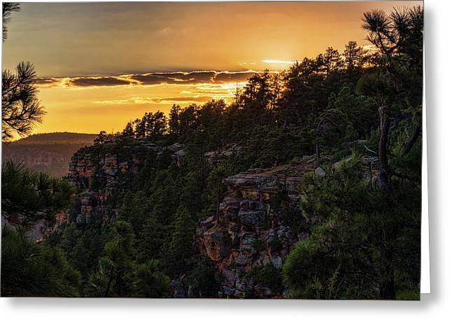Greeting Card featuring the photograph As The Sun Sets On The Rim  by Saija Lehtonen
