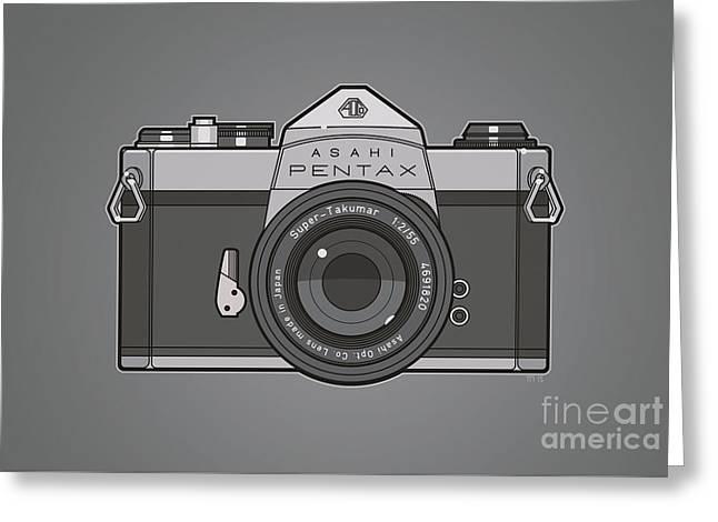 Asahi Pentax 35mm Analog Slr Camera Line Art Graphic Gray Greeting Card by Monkey Crisis On Mars