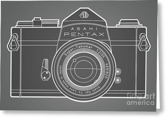 Asahi Pentax 35mm Analog Slr Camera Line Art Graphic White Outline Greeting Card by Monkey Crisis On Mars