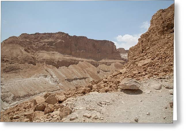 Greeting Card featuring the photograph Ascension To Masada - Judean Desert, Israel by Yoel Koskas