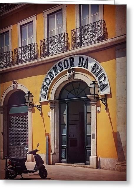 Ascensor Da Bica Lisbon Greeting Card by Carol Japp