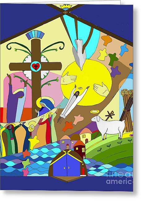 Ascention Mural Greeting Card by Angelina Marino