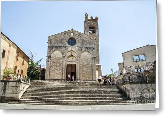 Asciano, Siena - Long Large Staircase Sant Agata Church Greeting Card