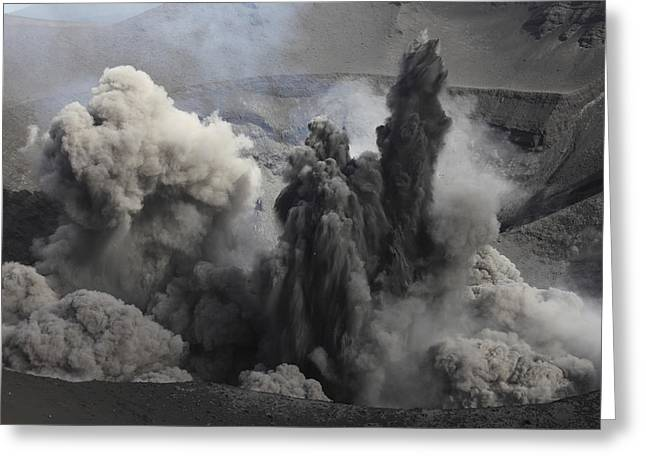 Emitting Greeting Cards - Ash Cloud Eruption On Yasur Volcano Greeting Card by Richard Roscoe