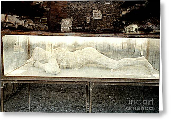 Greeting Card featuring the photograph Ash Encrusted Person From Volcano Eruption At Pompei, Italy by Merton Allen