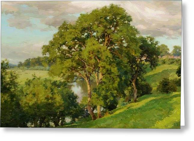 Ash Trees At Cropthorne Worcestershire Greeting Card
