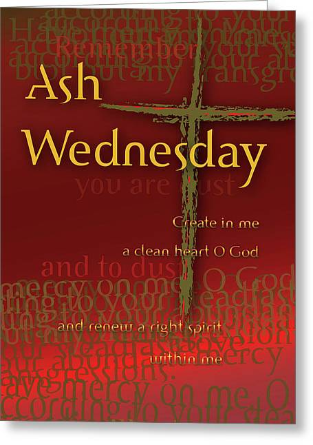 Greeting Card featuring the digital art Ash Wednesday by Chuck Mountain