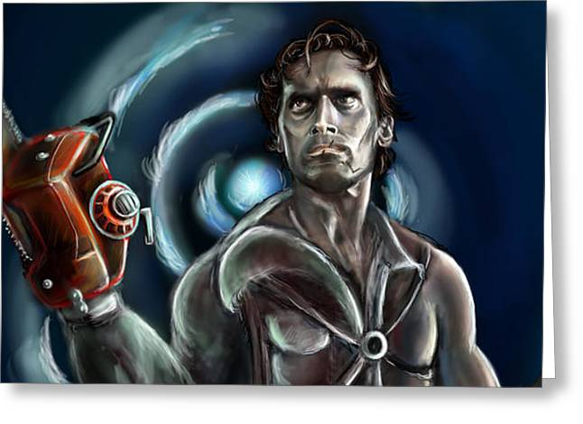 Ashes Greeting Cards - Ash Williams Greeting Card by Vinny John Usuriello