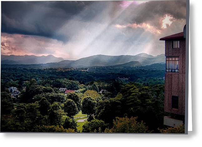 Asheville Sunset Greeting Card by Jim Hill