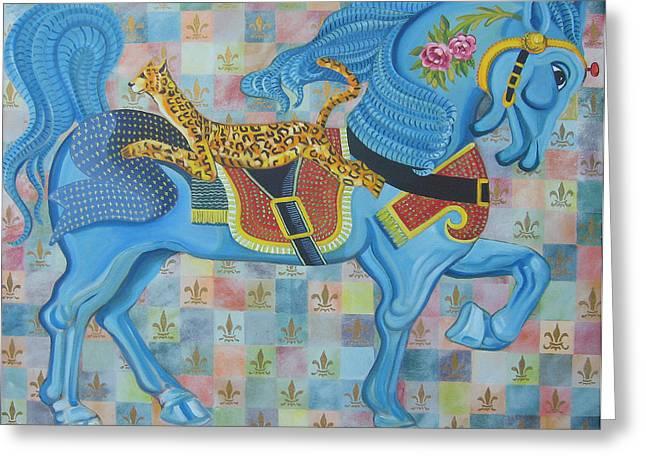 Ashley's Carousel Horse Greeting Card by John Keaton