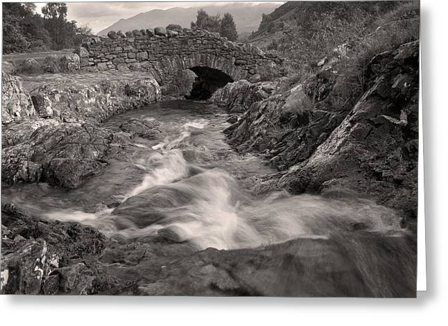 Ashness Bridge Sepia Greeting Card by Brian Northmore