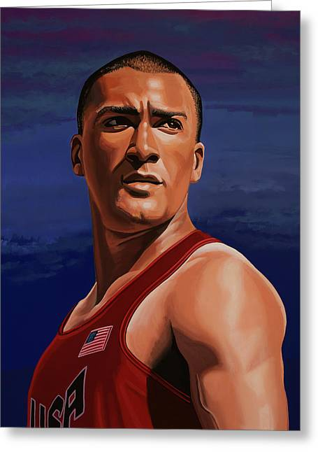 Ashton Eaton Painting Greeting Card by Paul Meijering