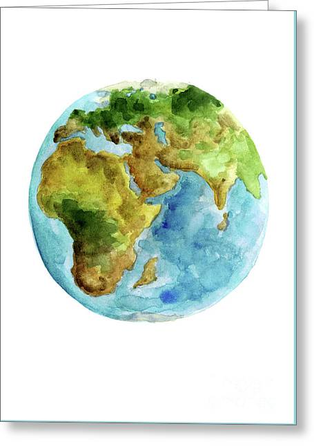 Planet Earth, Asia Map Poster, Africa Map Watercolor Painting, Blue Green Yellow Globe Art Print Greeting Card by Joanna Szmerdt