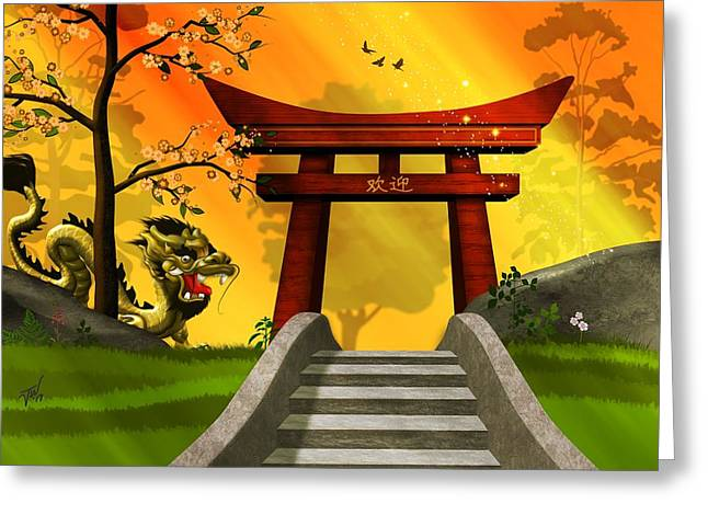 Asian Art Chinese Landscape  Greeting Card by John Wills