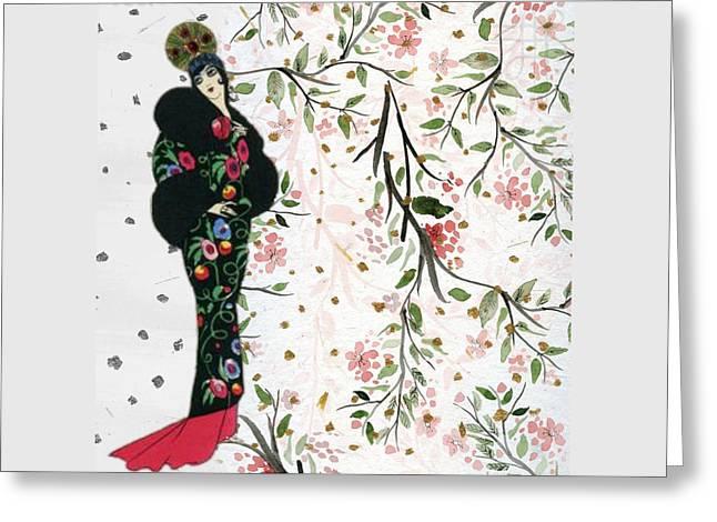 Asian Art Deco Beauty Greeting Card