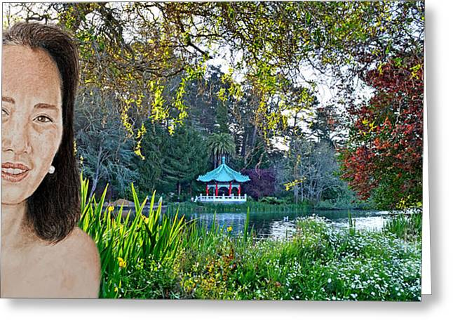 Asian Beauty Pusara By The Pagoda In Golden Gate Park Greeting Card by Jim Fitzpatrick