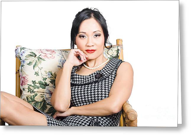 Asian Business Woman Greeting Card by Jorgo Photography - Wall Art Gallery