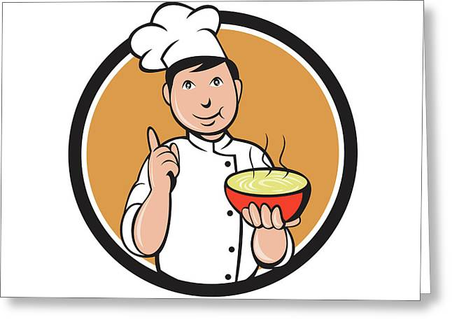 Asian Chef Noodle Bowl Circle Cartoon Greeting Card by Aloysius Patrimonio
