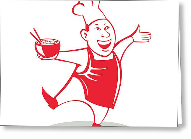 Asian Chef Serving Noodle Bowl Dancing Cartoon Greeting Card by Aloysius Patrimonio