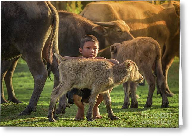 Greeting Card featuring the photograph Asian Children And Buffalo At Countryside. by Tosporn Preede