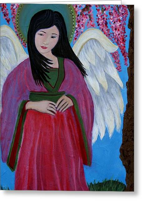 Earthangel Greeting Cards - Asian Earthangel Tuyen Greeting Card by The Art With A Heart By Charlotte Phillips