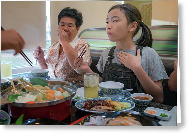 Asian Family Party With Shaby Sukiyaki Set Manu In Restaurant Greeting Card by Anek Suwannaphoom