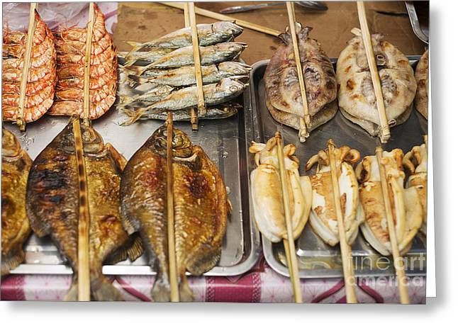 Asian Grilled Barbecued Seafood In Kep Market Cambodia Greeting Card