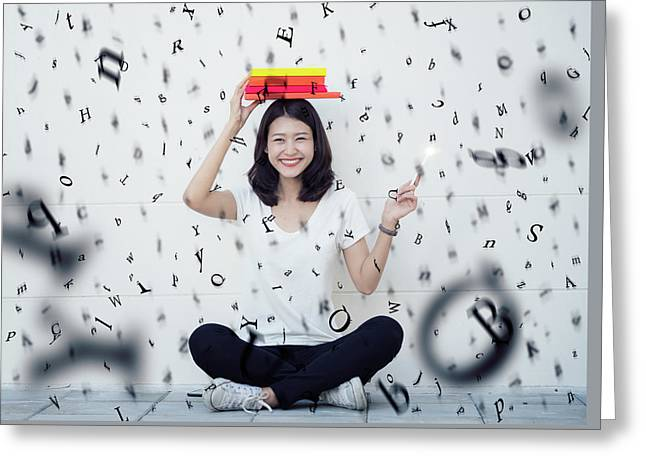Asian Lady Sitting With A Book And Rain Of Alphabet Greeting Card