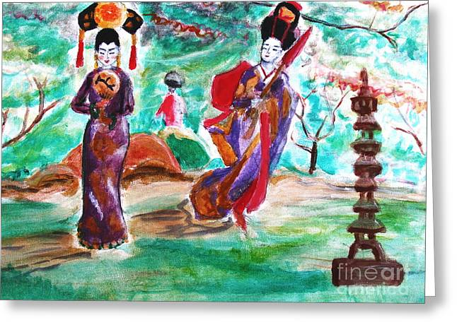 Asian Lovelies Greeting Card by Stanley Morganstein