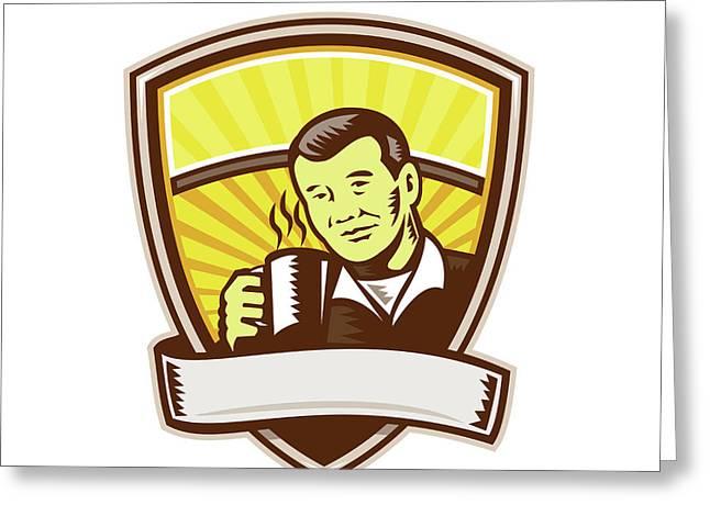 Asian Man Drinking Coffee Crest Woodcut Greeting Card by Aloysius Patrimonio