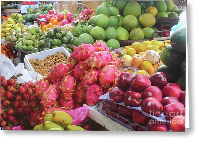 Asian Market, Exotic Fruits Greeting Card by Mariia Kilina