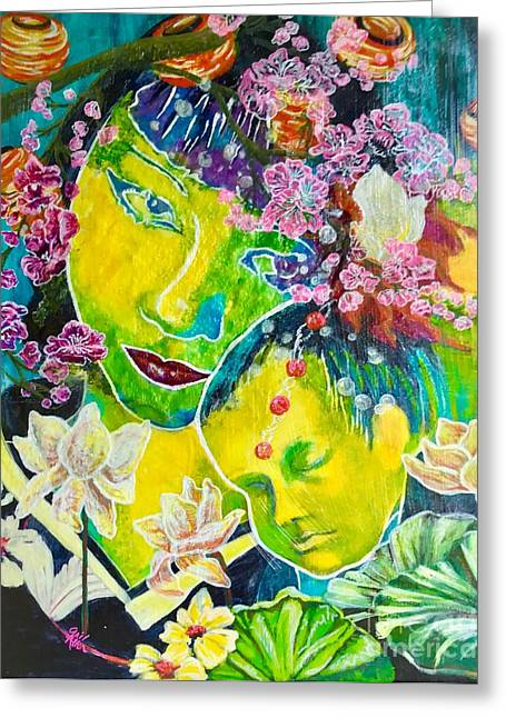 Asian Mother And Child Greeting Card