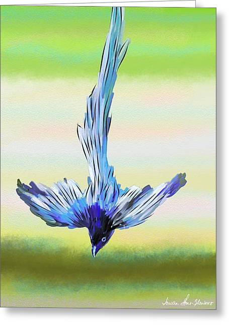 Greeting Card featuring the digital art Asian Paradise Flycatcher by Iowan Stone-Flowers