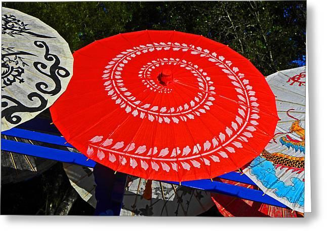 Asian Parasols Greeting Card