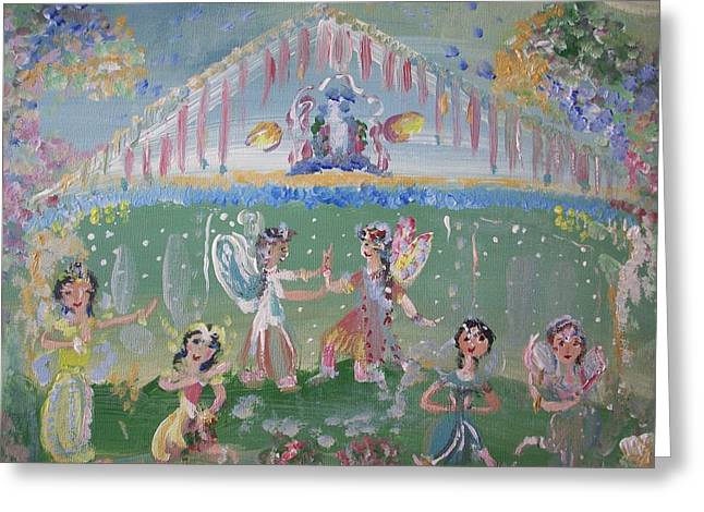 Greeting Card featuring the painting Asian Party Fairies by Judith Desrosiers