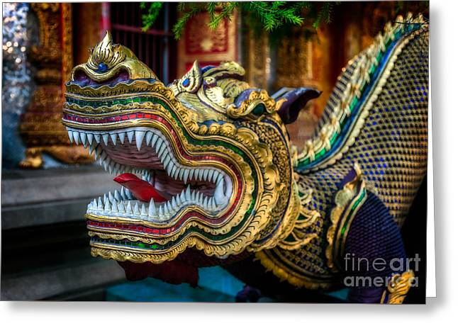 Asian Temple Dragon Greeting Card by Adrian Evans