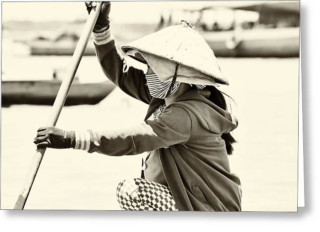 Asian Woman In A Boat Greeting Card