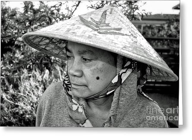 Asian Woman With A Mole On Her Cheek And Wearing A Conical Hat  Greeting Card by Jim Fitzpatrick