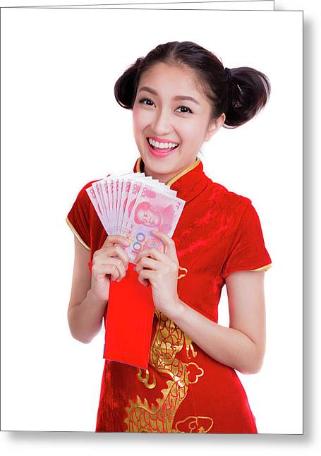 Asian Woman With Red Pocket For Chinese New Year Greeting Card