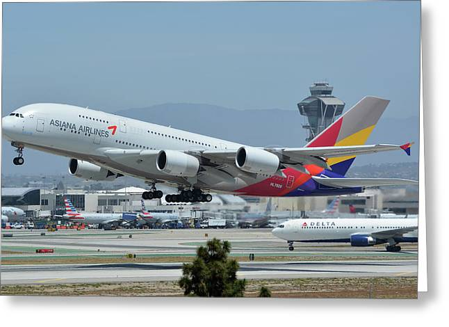 Greeting Card featuring the photograph Asiana Airbus A380-800 Hl7626 Los Angeles International Airport May 3 2016 by Brian Lockett