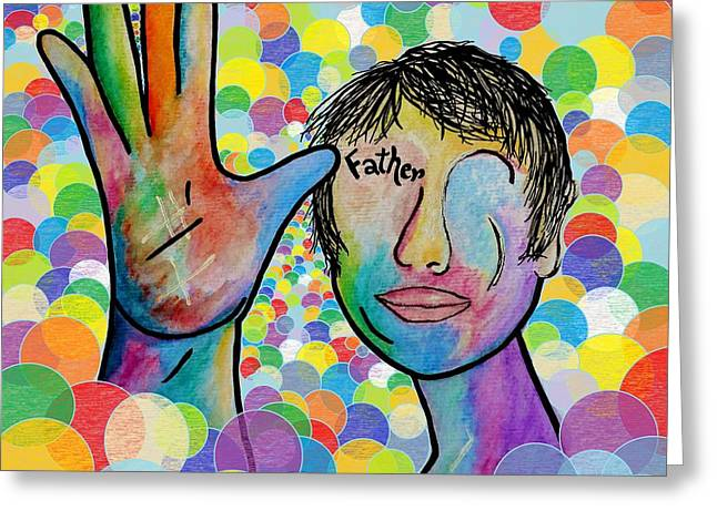 Asl Father On A Bright Bubble Background Greeting Card by Eloise Schneider