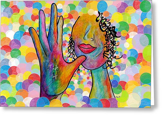 Asl Mother On A Bright Bubble Background Greeting Card