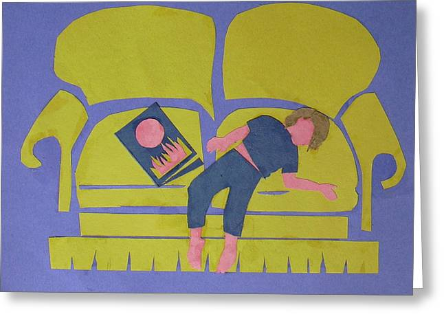 Greeting Card featuring the mixed media Asleep by Betty Pieper