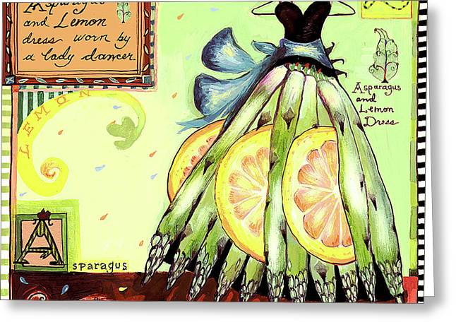 Asparagus Dress Greeting Card by Wendy Costa