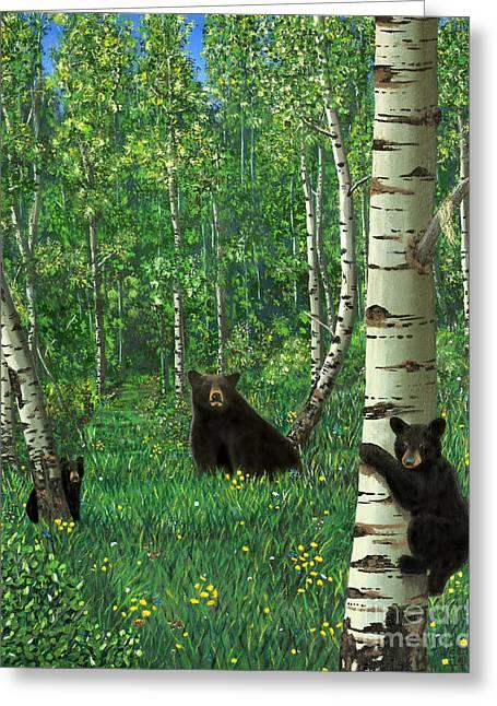 Aspen Bear Nursery Greeting Card by Stanza Widen