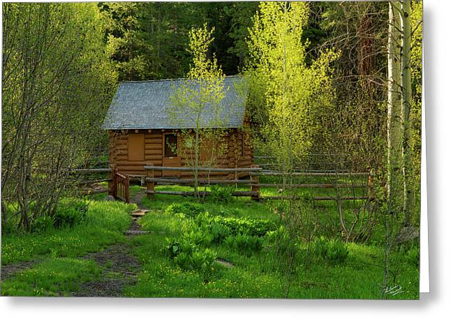 Greeting Card featuring the photograph Aspen Cabin by Leland D Howard