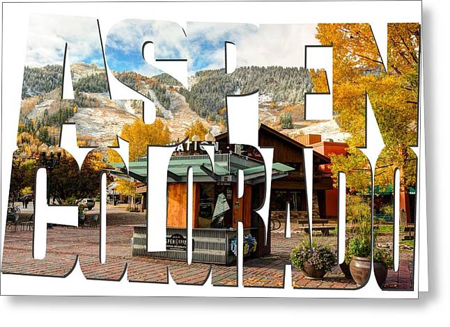 Aspen Colorado Typography - Welcome To Aspen Greeting Card by Gregory Ballos