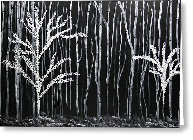 Greeting Card featuring the painting Aspen Forest by Dolores  Deal