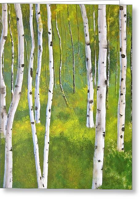 Heather Matthews Greeting Cards - Aspen forest Greeting Card by Heather Matthews